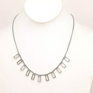 Madewell Necklace Silver Tone Clear Glass Pendants